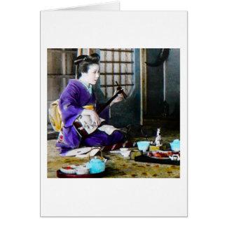 Vintage Japanese Geisha Playing Shamisen Banjo Card