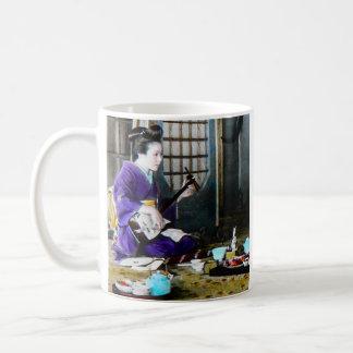 Vintage Japanese Geisha Playing Shamisen Banjo Coffee Mug