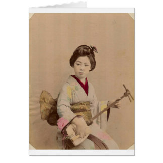 Vintage Japanese Geisha Playing Shamisen Card