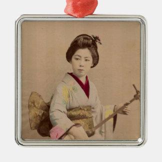 Vintage Japanese Geisha Playing Shamisen Metal Ornament