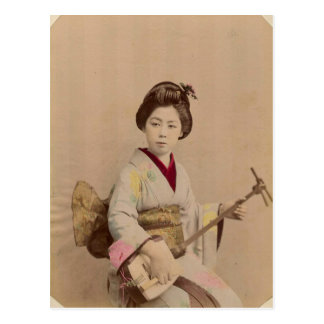 Vintage Japanese Geisha Playing Shamisen Postcard