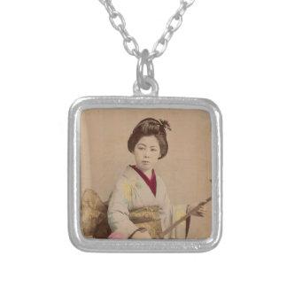 Vintage Japanese Geisha Playing Shamisen Square Pendant Necklace