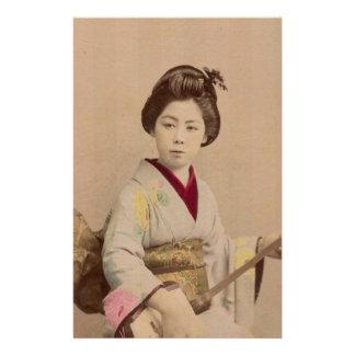 Vintage Japanese Geisha Playing Shamisen Stationery