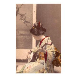Vintage Japanese geisha playing the shamisen Stationery