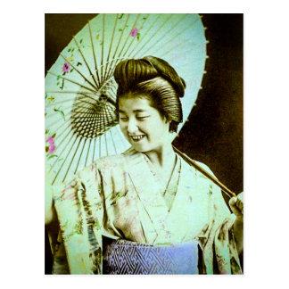 Vintage Japanese Geisha Posing Favorite Parasol Postcard