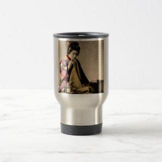 Vintage Japanese Geisha Sewing a Kimono Old Japan Travel Mug