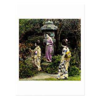Vintage Japanese Geisha Visiting Park in Old Japan Postcard