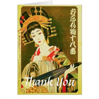 Vintage Japanese Geisha, Wasaga Paper Umbrella Art Card