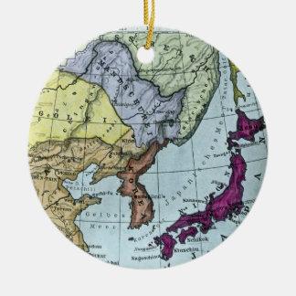 Vintage Japanese Hand Tinted Map 日本 Ceramic Ornament