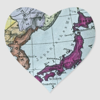Vintage Japanese Hand Tinted Map 日本 Heart Sticker