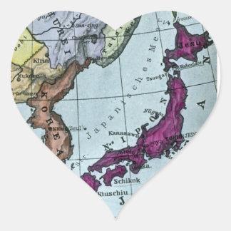 Vintage Japanese Hand Tinted Map 日本 Heart Sticker