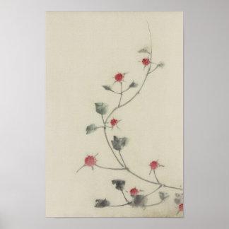 Vintage Japanese Hokusai Red Blossoms on Vine Poster