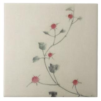 Vintage Japanese Hokusai Red Blossoms on Vine Ceramic Tiles