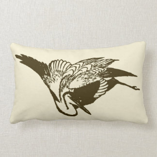 Vintage Japanese Ink Drawing of a Crane in Brown Lumbar Pillow
