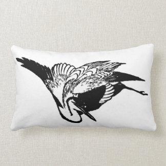 Vintage Japanese Ink Drawing of a Crane Lumbar Pillow