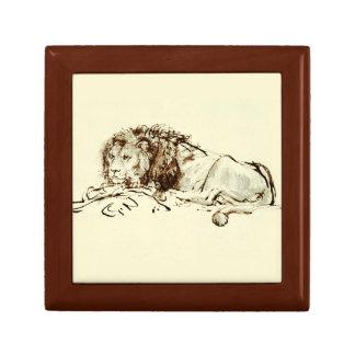 Vintage Japanese Ink Sketch of a Lion Gift Box