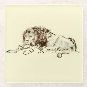 Vintage Japanese Ink Sketch of a Lion Glass Coaster