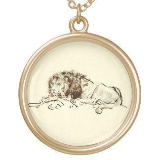 Vintage Japanese Ink Sketch of a Lion Gold Plated Necklace