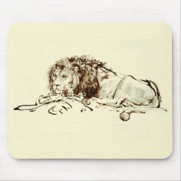 Vintage Japanese Ink Sketch of a Lion Mouse Pad