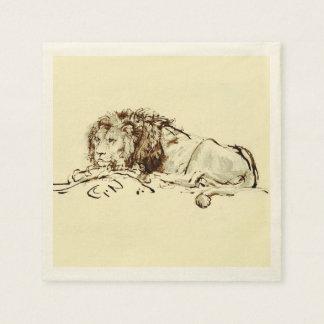 Vintage Japanese Ink Sketch of a Lion Napkin
