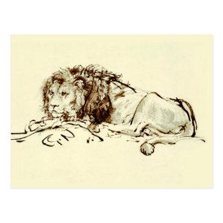Vintage Japanese Ink Sketch of a Lion Postcard
