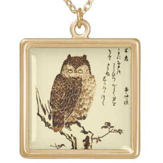 Vintage Japanese Ink Sketch of an Owl Gold Plated Necklace