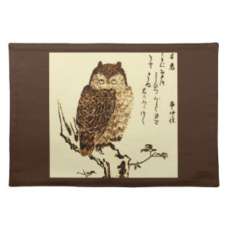 Vintage Japanese Ink Sketch of an Owl Placemat