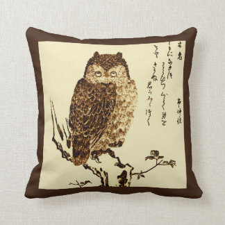 Vintage Japanese Ink Sketch of an Owl Throw Pillow