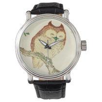 Vintage Japanese Ink Sketch of an Owl Wristwatch
