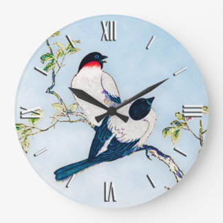 Vintage Japanese Ink Sketch of Finches Large Clock
