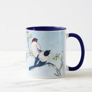 Vintage Japanese Ink Sketch of Finches Mug
