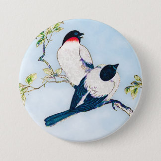 Vintage Japanese Ink Sketch of Finches Pinback Button
