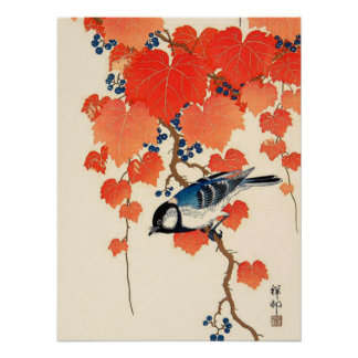 Vintage Japanese Jay Bird and Autumn Grapevine Poster
