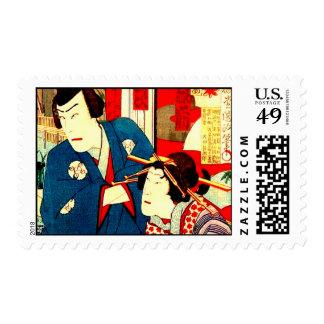 Vintage Japanese Kabuki Geisha Woodblock Print Art Postage Stamps