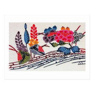 Vintage Japanese KIMONO Floral Pattern Post Card