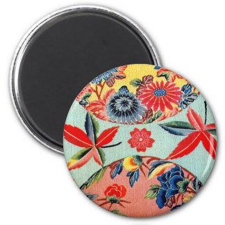 Vintage Japanese Kimono Textile (Bingata) 2 Inch Round Magnet
