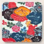 Vintage Japanese Kimono Textile (Bingata) Beverage Coaster