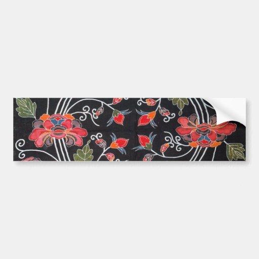 Vintage Japanese Kimono Textile (Bingata) Car Bumper Sticker