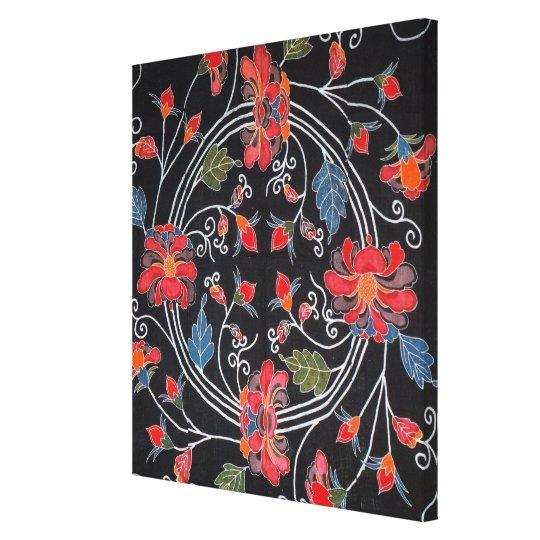 Vintage Japanese Kimono Textile (Bingata) Canvas Print