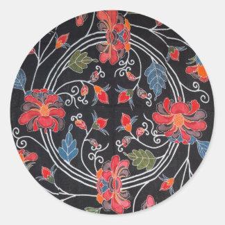 Vintage Japanese Kimono Textile (Bingata) Classic Round Sticker