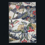 """Vintage Japanese Kimono Textile (Bingata) Kitchen Towel<br><div class=""""desc"""">Bingata&#160;(Okinawan:&#160;紅型,  literally &quot;red style&quot;) is an&#160;Okinawan&#160;traditional&#160;resist dyed&#160;cloth,  made using&#160;stencils&#160;and other methods. It is generally brightly colored and features various patterns,  usually depicting natural subjects such as fish,  water,  and flowers. Bingata is worn during traditional Ryūkyū arts performances and historical reenactments.</div>"""