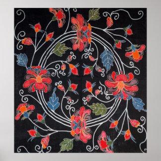 Vintage Japanese Kimono Textile (Bingata) Posters