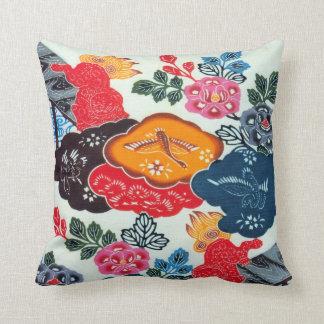 Vintage Japanese Kimono Textile (Bingata) Throw Pillow