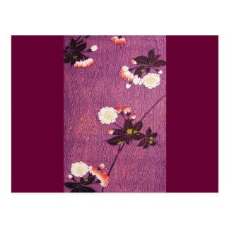 Vintage Japanese Kimono Textile, Cherry Blossoms Post Card