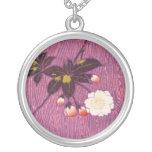 Vintage Japanese Kimono Textile, Cherry Blossoms Round Pendant Necklace
