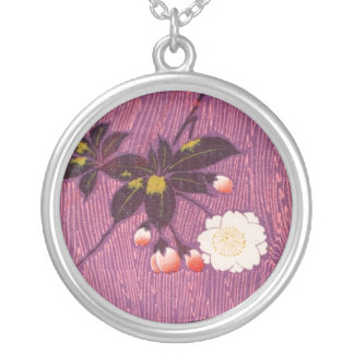 Vintage Japanese Kimono Textile, Cherry Blossoms Silver Plated Necklace
