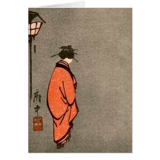 Vintage Japanese Kimono Woman Orange Looking Away Card