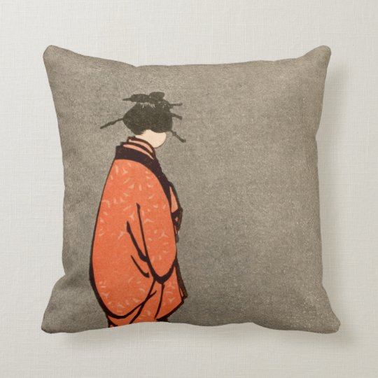 Vintage Looking Throw Pillows : Vintage Japanese Kimono Woman Orange Looking Away Throw Pillow Zazzle