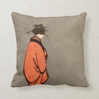 Vintage Japanese Kimono Woman Orange Looking Away Throw Pillow