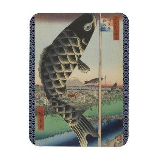 Vintage Japanese Koi Festival Flags Magnet